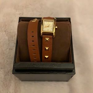 Michael Kors Gold & Brown leather wrap watch